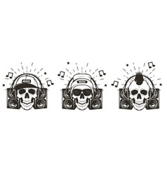 music skull set hand drawn vector image