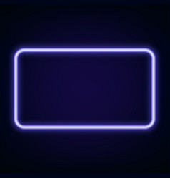 neon glowing rectangle fframe for banner on dark vector image