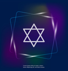 Neon light icon star from two triangles a vector
