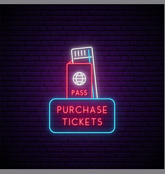 Neon tickets sign glowing boarding pass icon vector
