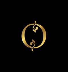 O letter floral gold logo classy drawn emblem vector