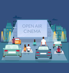 open air cinema poster design template vector image