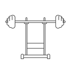 Outline weight barbell equipment fitness gym vector
