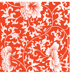 pattern on red background with chinese flowers vector image