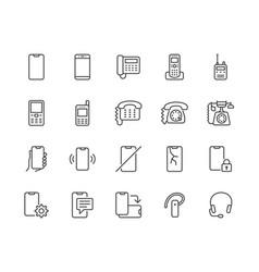 phone flat line icons set smartphone landline vector image