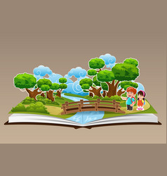 Pop up book with a forest theme vector