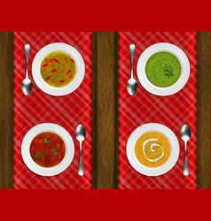 porcelain plates with different soups on a vector image