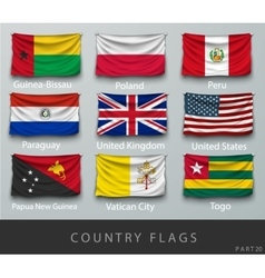 Riveted the country flag wrinkled vector image