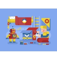 Robotics guy control robot vector image