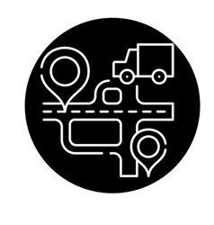 route navigation black icon sign on vector image