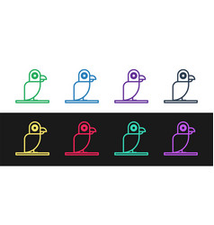 Set line pirate parrot icon isolated on black and vector