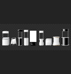 Set of advertising pillars columns pennants - vector