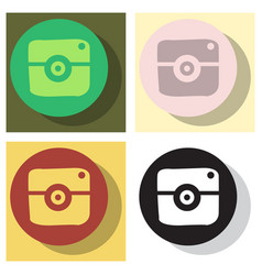 Set of flat web icon of modern lineart camera vector