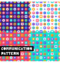Set pattern social media vector
