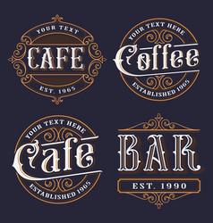 set vintage emblems for catering vector image