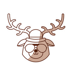 Shadow vintage deer face vector