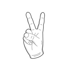 sketch hand gesture with peace symbol vector image