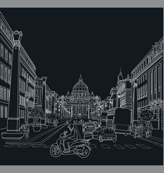 sketch of the street of rome vector image