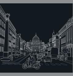 sketch street rome vector image