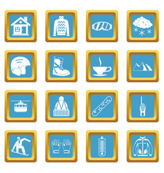 snowboarding icons azure vector image