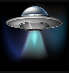 Spacecraft flying in dark space vector