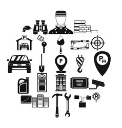 spanner icons set simple style vector image