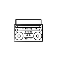tape recorder with radio hand drawn outline doodle vector image