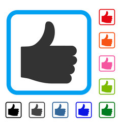 thumb up framed icon vector image