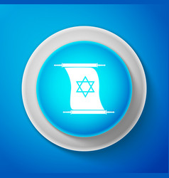 torah scroll icon isolated on blue background vector image