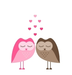Two funny owls in love isolated on white vector image