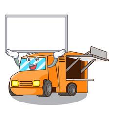 Up board rendering cartoon of food truck shape vector