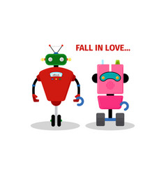 valentines day card with robots vector image