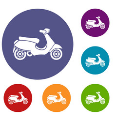 Vespa scooter icons set vector