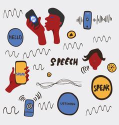 voice recognition doodle vector image