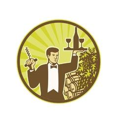 Waiter Serving Wine Grapes Barrel Retro vector