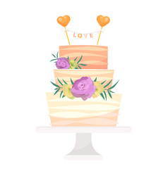 wedding cake pie hand drawn style sweets vector image