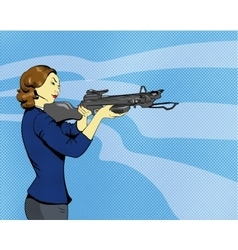 Woman with arbalest in comics vector image