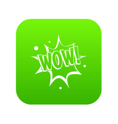 Wow explosion effect icon digital green vector