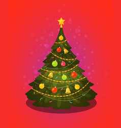 Xmas tree christmas decorations vector