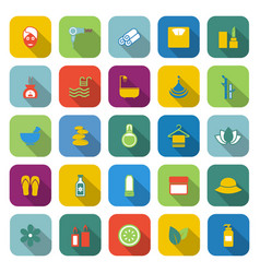Beauty color icons with long shadow vector