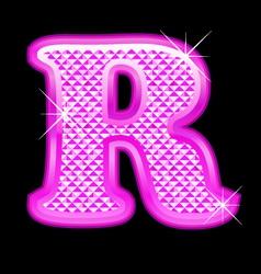 R letter pink bling girly vector image