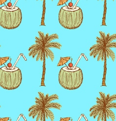 Sketch palm and coconut cocktail in vintage style vector image vector image