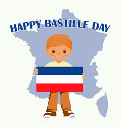 smiling child boy holding a france flag isolated vector image vector image