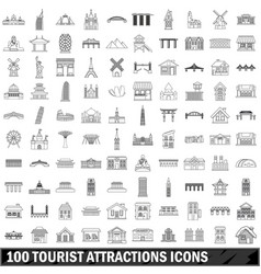 10 tourist attractions icons set outline style vector