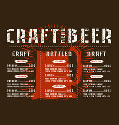 beer menu for cafe and restaurant vector image