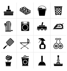 Black Household objects and tools icons vector image