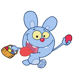 Blue Bunny Running And Holding Up An Egg vector image vector image