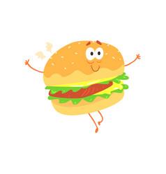 funny burger cartoon fast food character element vector image vector image