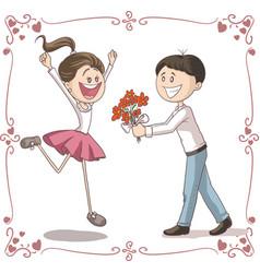 man brings flowers to shy woman cartoon vector image vector image