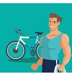 Man cartoon and healthy lifestyle design vector